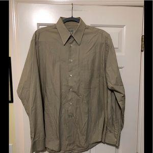 Giorgio Armani tan button shirt M 15.5 34/35